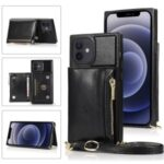 Phone Zippered Wallet Protective Case with Kickstand and Shoulder Strap for iPhone 12/12 Pro – Black