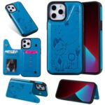 Cat and Bee Pattern Imprint Leather Coated TPU Shell for iPhone 12 Pro Max Card Holder Case – Blue