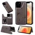 Cat and Bee Pattern Imprint Leather Coated TPU for iPhone 12/12 Pro Card Holder Case – Grey