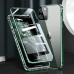 Magnetic Installation Metal Frame + Dual-sided Tempered Glass Full Covering Case + Camera Lens Protector for iPhone 12 Pro Max – Green