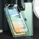 Magnetic Installation Metal Frame + Dual-sided Tempered Glass Full Covering Case + Camera Lens Protector for iPhone 12 Mini – Green