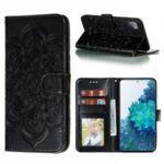 Imprint Mandala Flower Leather Protective Cover for Samsung Galaxy S20 FE/S20 Fan Edition/S20 FE 5G/S20 Fan Edition 5G – Black