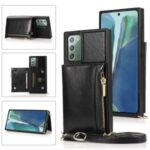 Leather Zippered Wallet Phone Protective Case with Shoulder Strap for Samsung Galaxy Note 20/Note 20 5G – Black