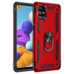 Ring Holder Kickstand Anti-drop PC + TPU Hybrid Cover for Samsung Galaxy M31s – Red