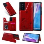 Imprint Cat and Bee Leather Coated TPU Kickstand for Samsung Galaxy Note 20/Note 20 5G Card Holder Case – Red