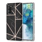 MF Electroplating Marble Pattern Splicing Printing Phone Protector for Samsung Galaxy S20 FE/S20 Fan Edition/S20 FE 5G/S20 Fan Edition 5G/S20 Lite – Black