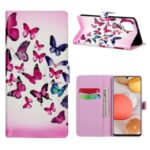 For Samsung Galaxy A42 5G Pattern Printing Wallet Stand Leather Phone Case – Colorful Butterfly