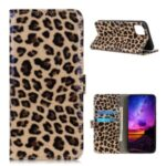 Leopard Pattern Glossy Wallet Leather Stand Phone Cover for LG K42
