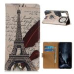 Patterned Wallet Leather Stand Cover for Huawei P smart 2021/Y7a Stylish Protective Case – Tower and Letters