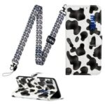 Pattern Printing Leather Case Wallet Cover with Hanging Strap for Huawei P30 Lite / P30 Pro New Edition / Nova 4e – Black/White