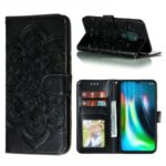 Imprint Mandala Flower Leather Protective Cover for Motorola Moto G9 Play – Black