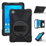 360° Swivel PC + Silicone Kickstand Tablet Case with Hand Band and Shoulder Strap for Lenovo Tab M8 8″ TB-8505F/8505X – Black