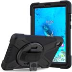 360° Swivel PC + Silicone Kickstand Tablet Case with Pen Slot Hand Band for Lenovo Tab M8 8″ TB-8505F/8505X 2019 – Black