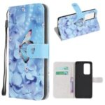 Cross Texture Pattern Printing Leather Wallet Stand Cover with Strap for 	Xiaomi Mi 10T 5G / Mi 10T Pro 5G – Butterfly
