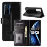 Crazy Horse Leather Shell with Wallet Stand for vivo iQOO 5 5G – Black