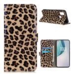 Leopard Texture Glossy Wallet Leather Stand Cover for OnePlus Nord N100 Case