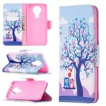 Pattern Printing Wallet Stand Flip Leather Case for Nokia 3.4 Phone Shell – Couple Owls and Tree