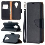 Litchi Texture Wallet Stand Leather Cover with Lanyard for Nokia 3.4 – Black