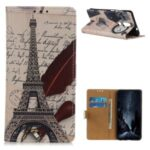 Wallet Stand Leather Cover with Pattern Printing for Nokia 2.4 – Effel Tower and Quill-pen