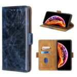 Dual Magnetic Flap PU Leather Card Holder Phone Case for OnePlus Nord N10 5G – Blue