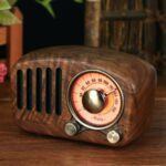 R919 Retro Wooden Bluetooth Speaker Portable FM Radio with Loud Volume TF Card MP3 Player – Walnut Wood