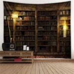 Vintage Library Bookshelf Tapestry Retro Bookshelf Wall Bedroom College Dorm Decor – Size: 95 x 73cm