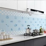 Kitchen Wall Sticker Oil-proof Wallpaper High Temperature Resistant Decal – Blue