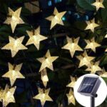 Solar Star String Light Twinkle Fairy Light Waterproof Lights for Outdoor Gardens Lawn – Warm white/5 meters 20 lights