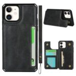 For iPhone 11 6.1-inch Button Flip PU Leather Coated TPU Wallet Phone Shell – Black