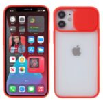 Matte PC + TPU Phone Protective Case with Slide Camera Cover for iPhone 12 Pro / iPhone 12 – Red