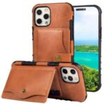 PU Leather Coated TPU Kickstand Card Slot Design Phone Case with Strap for iPhone 11 6.1-inch – Orange