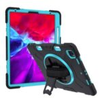 Thicken Kickstand PC Silicone Hybrid Shell Case with Adjustable Strap for iPad Pro 12.9-inch (2020)/(2018) – Baby Blue