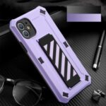TPU + PC Hybrid Phone Case Cover with Kickstand for iPhone 12 Pro / iPhone 12 – Purple