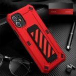 TPU + PC Hybrid Phone Cover with Kickstand for iPhone 12 Pro Max – Red