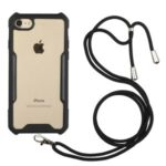 Acrylic+TPU Shockproof Phone Case with Strap for iPhone 7/8/SE (2nd Generation) – Black