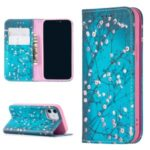 Auto-absorbed PU Leather Stand Case with Pattern Printing for iPhone 12 mini – Plum Blossom