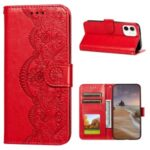 Imprinted Flower Vine Wallet Leather Cell Phone Case with Lanyard for iPhone 12 mini – Red
