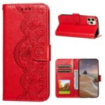 Flower Vine Imprinted Wallet Leather Cell Phone Case with Lanyard for iPhone 12/12 Pro – Red