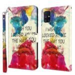 Light Spot Decor Pattern Printing Case for Samsung Galaxy M51 Leather Shell with Lanyard – Sentence