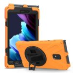 PC and Silicone Tablet Case + Pen Slot + Hand Band + 360° Swivel Kickstand for Samsung Galaxy Tab Active 3 T570/T575/T575N/T577 – Orange