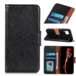 Nappa Texture Split Leather Wallet Folio Flip Phone Case for Samsung Galaxy A12 – Black