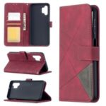 For Samsung Galaxy A32 BF05 Geometric Texture Leather Wallet Stand Case Cover – Red