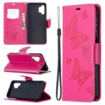For Samsung Galaxy A32 Imprint Butterflies Wallet Stand Flip Leather Phone Shell – Rose