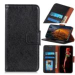 Nappa Texture Split Leather Shell for Samsung Galaxy A72 5G Wallet Stand Mobile Phone Cover Case – Black