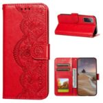 Drop-proof Imprinted Flower Vine Wallet Leather Case with Lanyard for Samsung Galaxy S20 FE/S20 FE 5G – Red