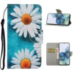 PU Leather Wallet Stand Phone Case for Samsung Galaxy S21 Ultra – Chrysanthemum