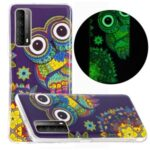 Unique Noctilucent IMD TPU Case for Huawei P smart 2021/Y7a Protective Cover – Owl