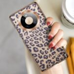 XOOMZ Electroplating Frame TPU Back Case Coated with Leopard Texture Genuine Leather for Huawei Mate 40 Pro