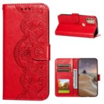 Imprinted Flower Vine Stand Magnet Clasp Wallet Leather Case with Lanyard for Motorola Moto G9 Plus – Red