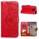 Imprinted Flower Vine Wallet Leather Drop-proof Case with Lanyard for Motorola Moto G9 Play – Red